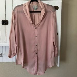 Anthro Saturday Sunday Mixed Fabric Blush Top L